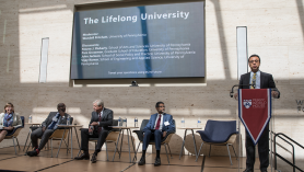 "Penn Provost Wendell Pritchett, panel moderator, said Penn's work in online learning extends the University's resources ""beyond traditional boundaries of age and geography."" Photo: Katherine Veri, Veri Productions"